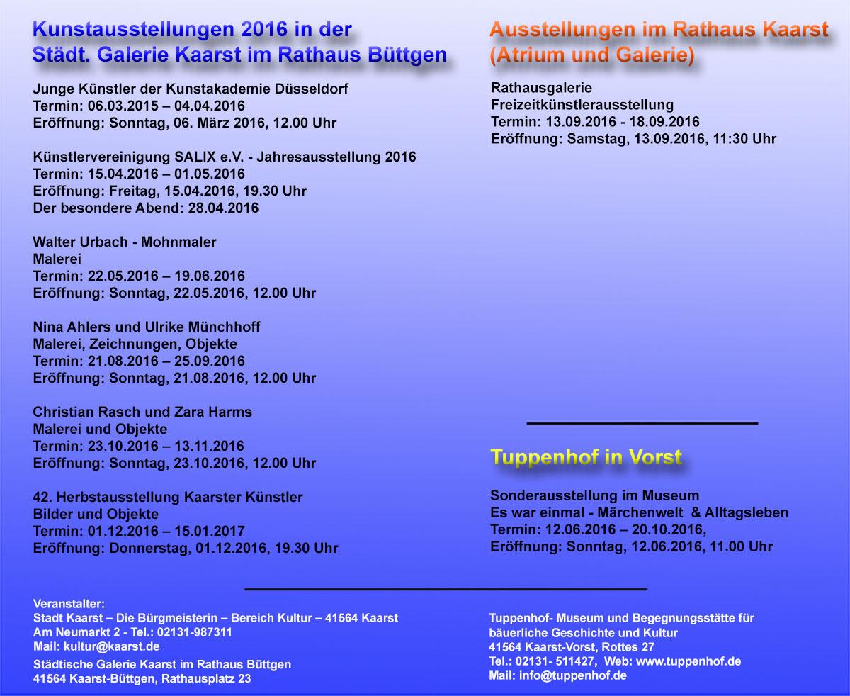 Ausstellungsprogramm 2016
