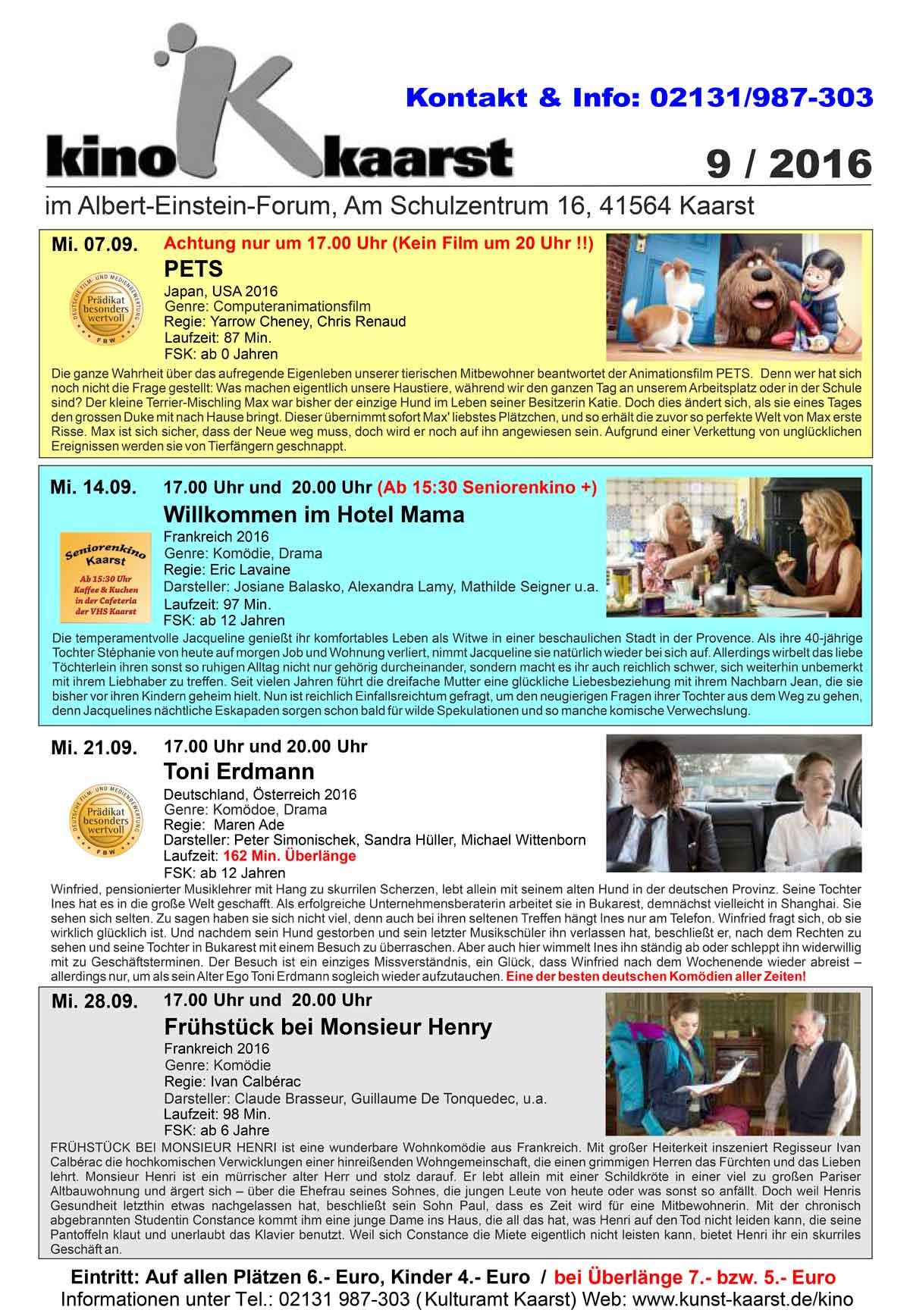 Monatsprogramm Kino Kaarst September 2016