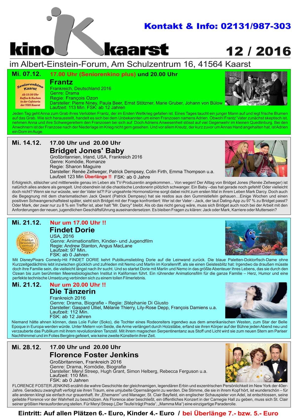 Monatsprogramm Kino Kaarst November 2016